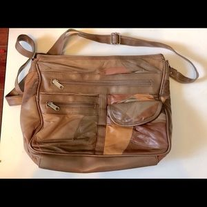 TAN AND BROWN SOFT LEATHER CROSS BODY BAG